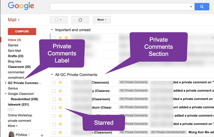 Private comments in gmail