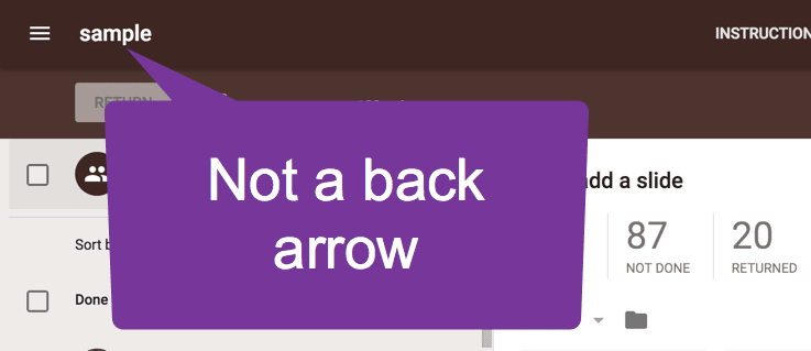 Not a back arrow