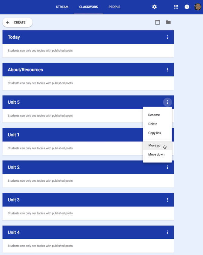 Google Classroom Organizing of Topics