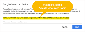 Paste link to the about resources