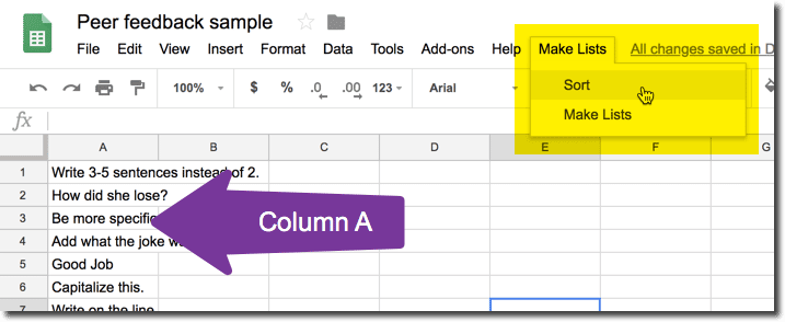 Put feedback into Column
