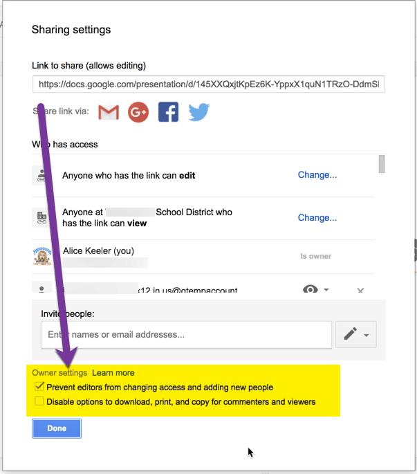 Sharing settings owner settings access