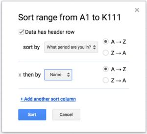 multiple column sort in Google Sheets