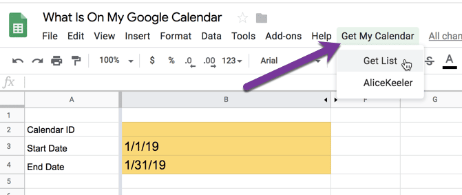 Use the calendar menu