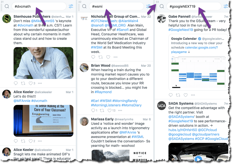 Multiple columns for different hashtags.