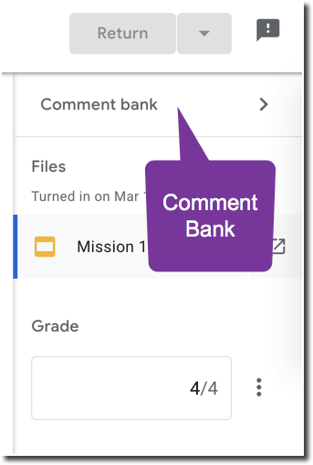 Comment bank in the side panel