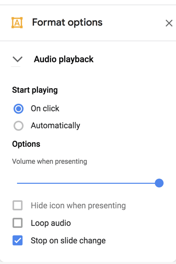 audio in google slides