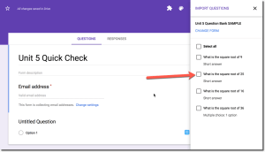 Checkbox the questions you wish to import
