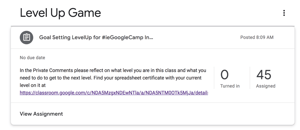Level up game Google Classroom goal setting assignment