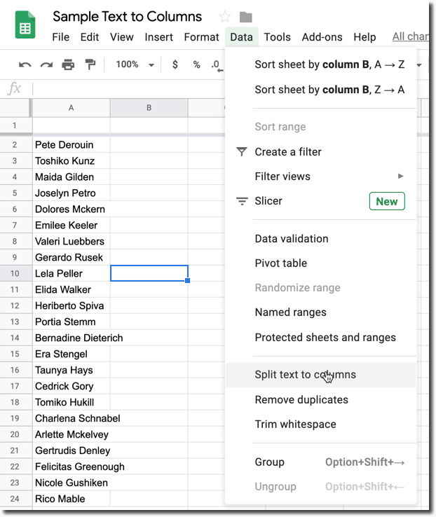 Data Menu Split text to columns
