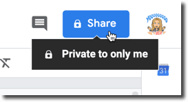 Share button is private