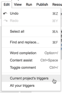 Edit menu current project triggers