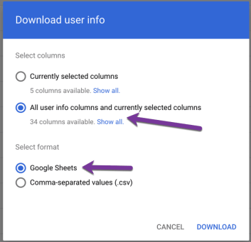 download user data to google sheets