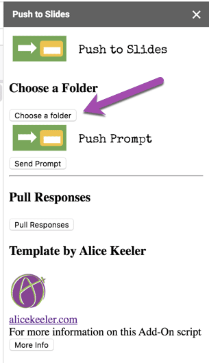 "Sidebar for Push to Slides. Select ""Choose Folder."""
