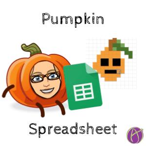 Fall Pumpkins Pixel Art Google Sheets by Alice Keeler
