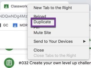 Right click on the chrome tab and choose duplicate.