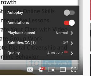 Playback speed in YouTube