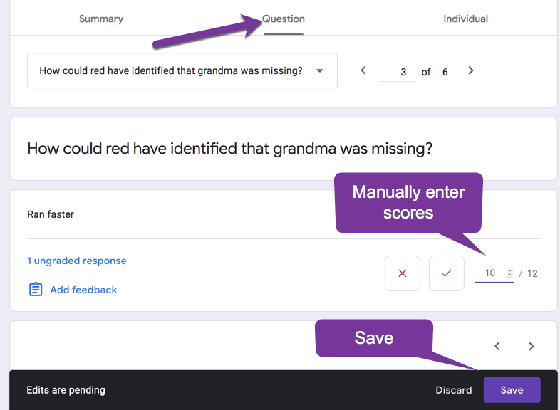 Click on question in the google form and assign a score and save.