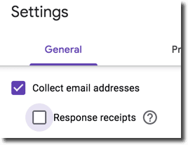 Collect email addresses checkbox