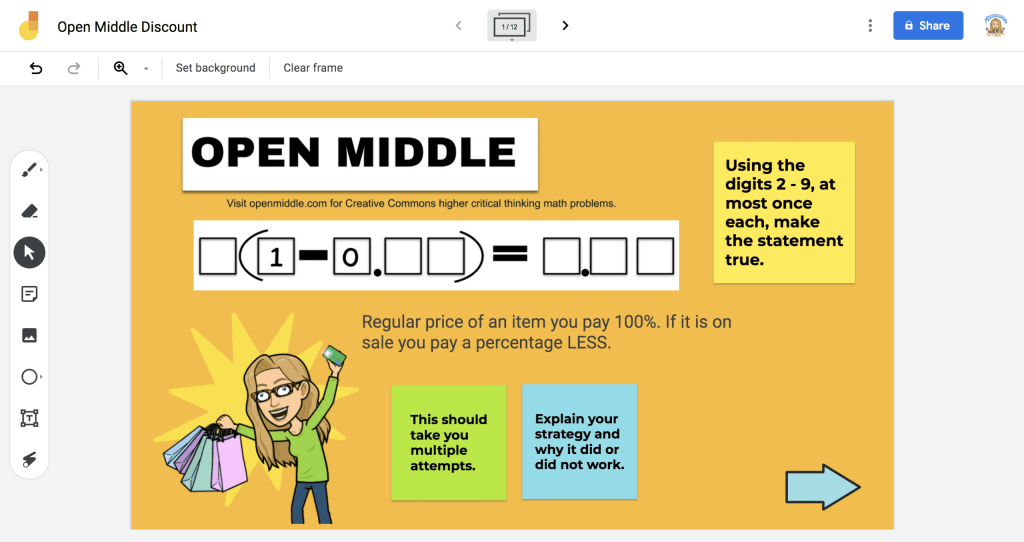 Open Middle discount math problem in google jamboard