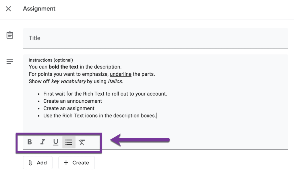 Google Classroom assignment with Rich Text