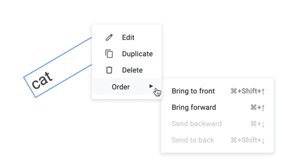 """select """"order >"""" to find the order changing options of the item. This feature allows you to change what layer of the Jam the item is on."""