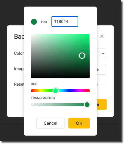 paste hex code into box at top of custom color