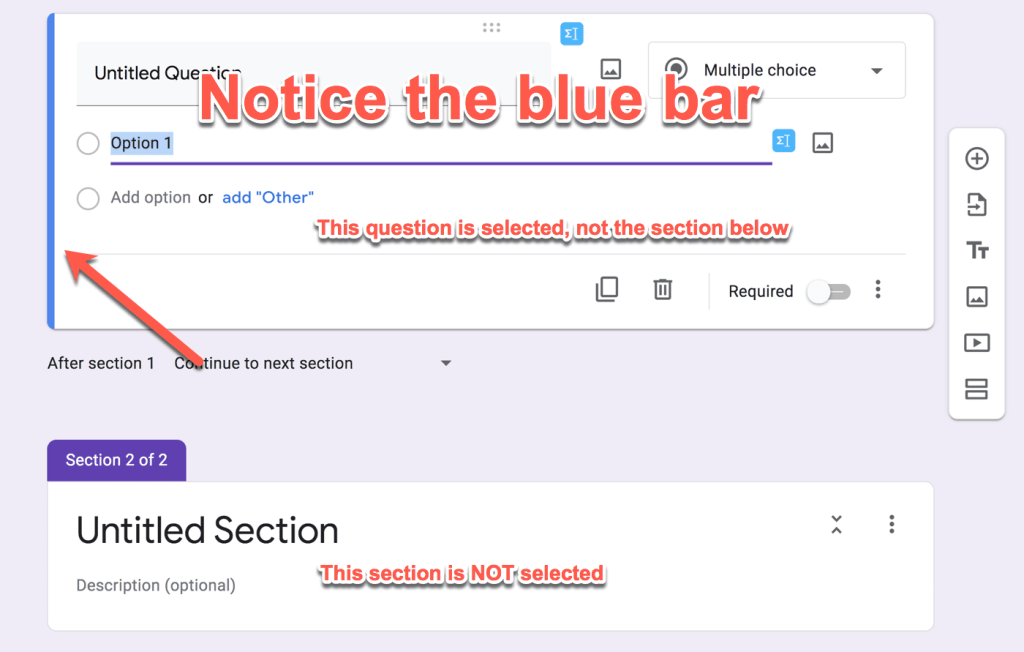 the blue bar at the side indicates that the section is selected in google forms