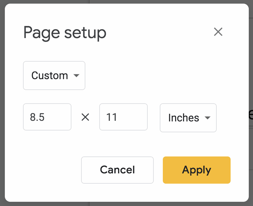 8.5 by 11 inches custom settings