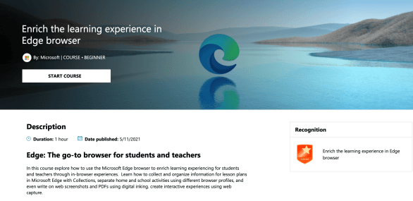This is the picture that is on the Microsoft Edge Browser learning course called Enrich the learning experience in Edge browser.