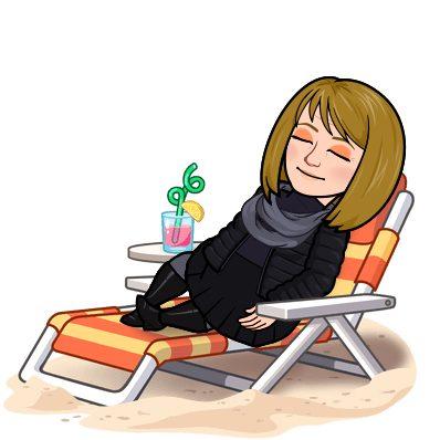 A Bitmoji of Melody lounging in the sun.