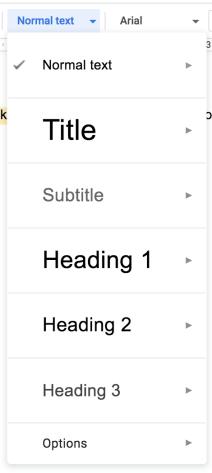 Google डॉक्स में शीर्षक मेनू
