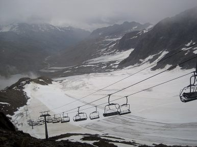 The skiing area, view from the Grey Wall (Grauwand).