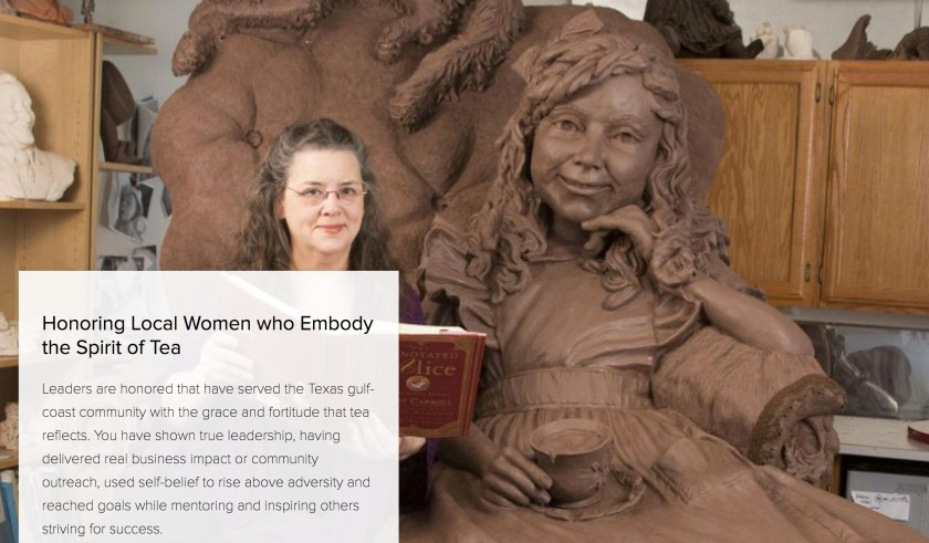 Sculptor Bridgette Mongeon with her sculpture of Alice