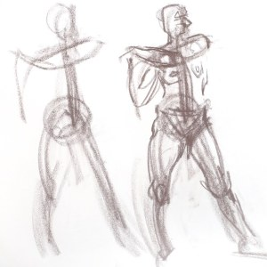 quick gesture drawing showing movement and balance