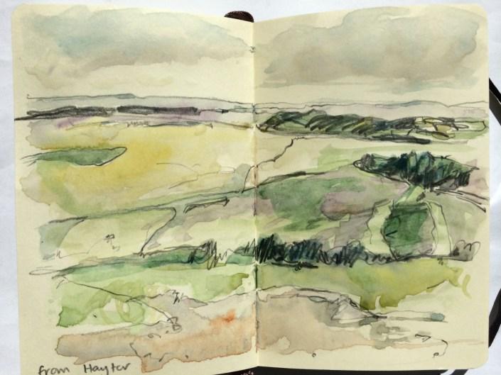 watercolour landscape sketch from Haytor, sketchbook Alice Sheridan