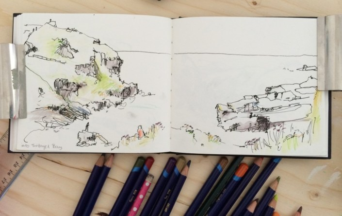Alice Sheridan sketchbook: quick pen drawing of Tintagel bay