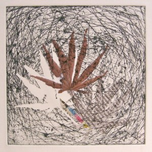 Alice Sheridan 'Trappings II' etching with chine collée