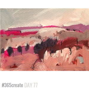 Alice Sheridan 365create aprilcolour abstract landscape painting in pinks