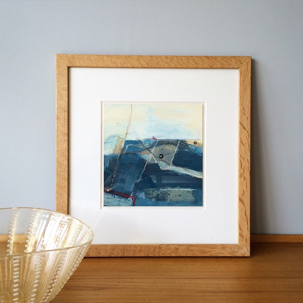 abstract collage seascape framed original artwork by Alice Sheridan