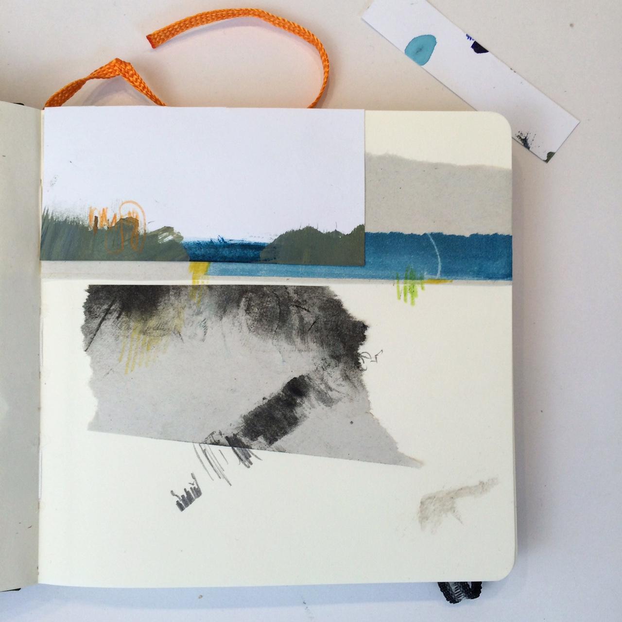 blue horizon collage sketchbook Alice Sheridan
