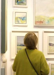 visitor to Alice Sheridan at Art Fair