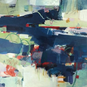 Blue lake abstract painting by Alice Sheridan london artist