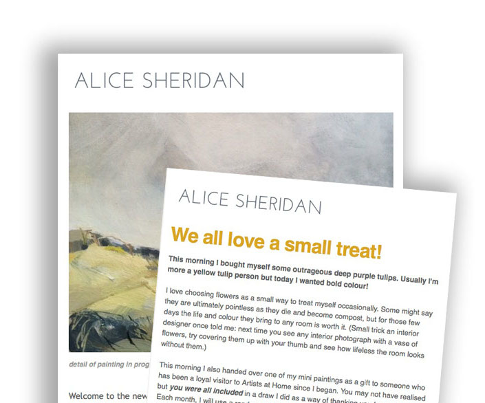 Alice Sheridan artist newsletter