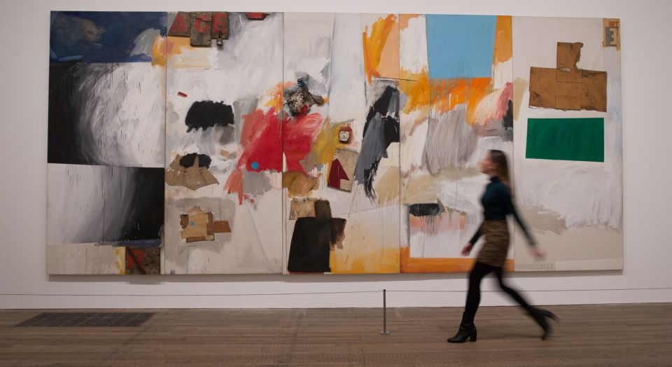 Art work entitled 'Ace, 1962' by US artist Robert Rauschenberg during a press preview at the Tate Modern in London