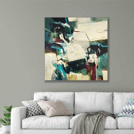 large abstract painting in room setting