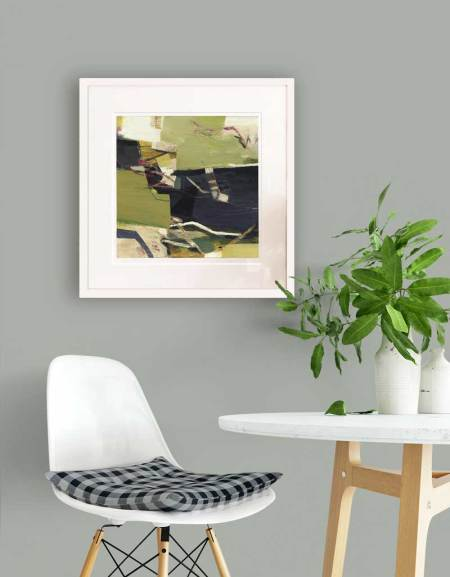abstract landscape green framed print on wall