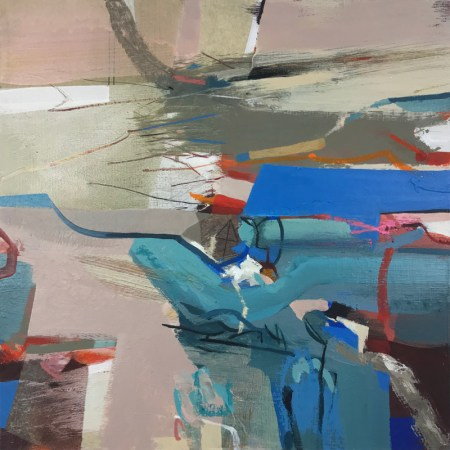Floating by Alice Sheridan, pink and blue abstract painting