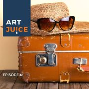 orange suitcase Art Juice podcast