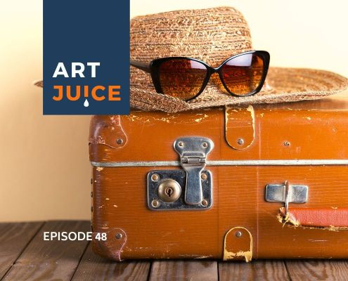 orange suitcase Art Juice podcast